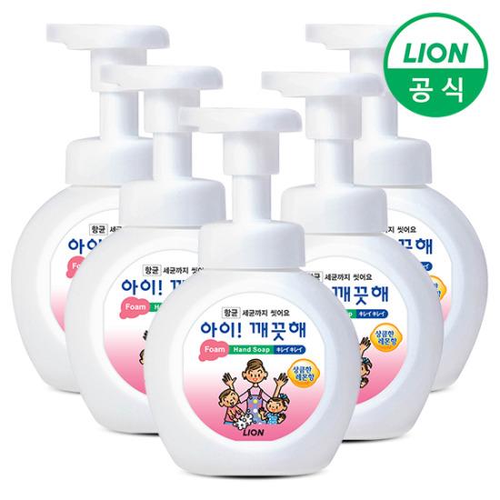 [LION] 아이깨끗해 거품형 대용량 대용량 490ml 용기 5개
