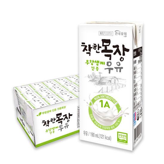 [건국유업]건국 순한목장 첫우유 무항생제 멸균우유 150mlX24팩