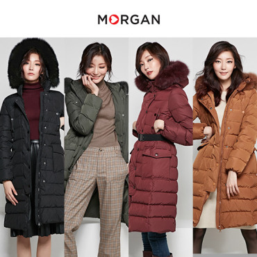 MORGAN 천연폭스 구스다운 코트