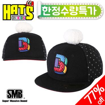 [햇츠온키즈] SMB 털방울 포인트 유아동 스냅백 모자 G5S724BK
