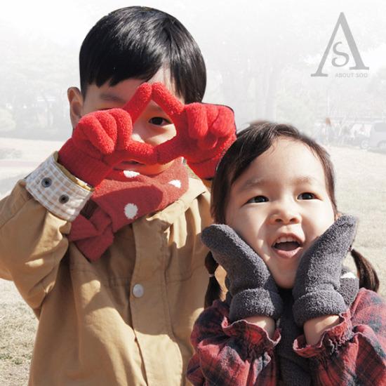 포근포근 보들보들 유아동 탁텔 벙어리 장갑