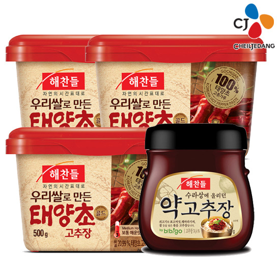 [CJ] 태양초골드고추장 500gx3개+비벼먹는 약고추장 500gx1개