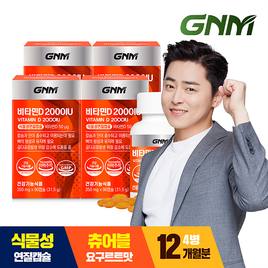 [조정석추천] GNM 츄어블 비타민D 2000IU 4병(총 12개월분)