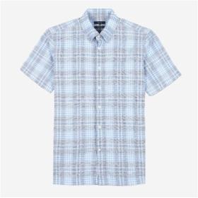 [DAKS MEN]블루 마 혼방 체크 반팔 셔츠 DMSH7B024B2