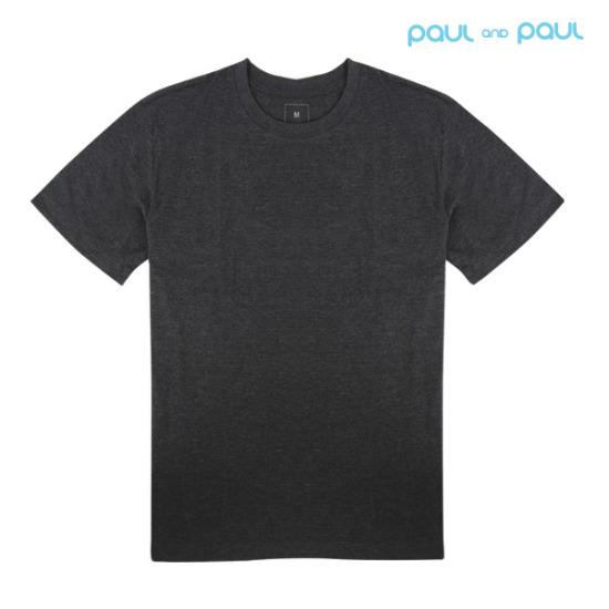 [폴앤폴] 무지 챠콜 라운드 반팔 티셔츠 80부터 120까지 빅사이즈 반팔티(남여공용)