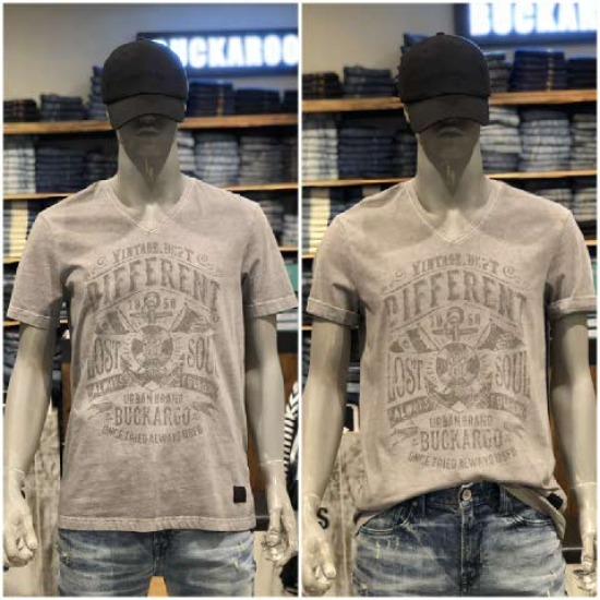 [버커루] 남성 20수 피크먼트 V넥 반팔 티셔츠 B182TS200P