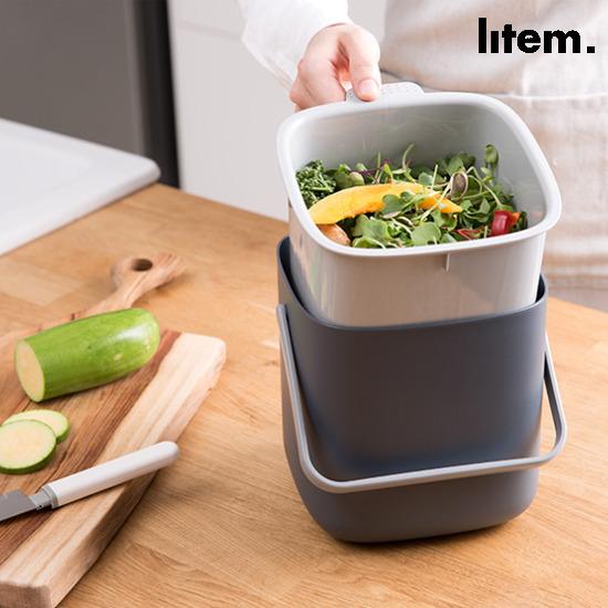 리템 음식물쓰레기통 (다크그레이/아이보리)