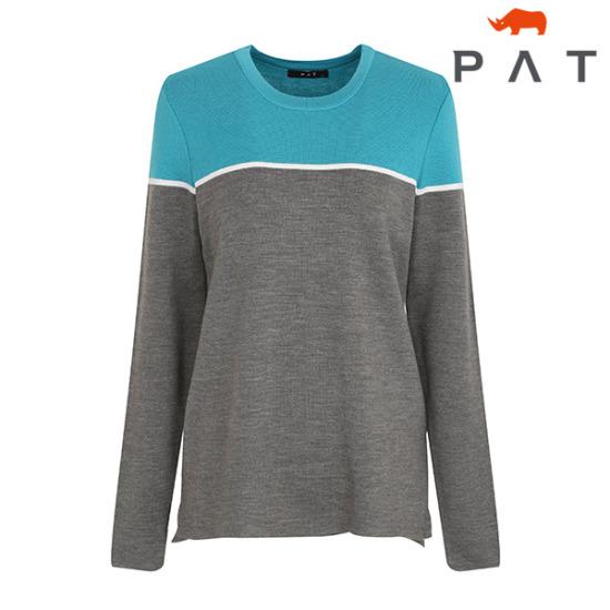 PAT 투톤배색 라운드 니트-QC23301/그레이