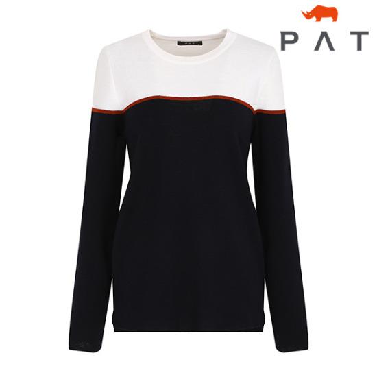PAT 투톤배색 라운드 니트-QC23301/네이비