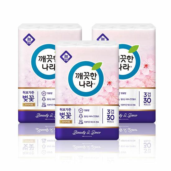 깨끗한나라 화장지 프리미엄 벚꽃 3팩구성(총90롤)