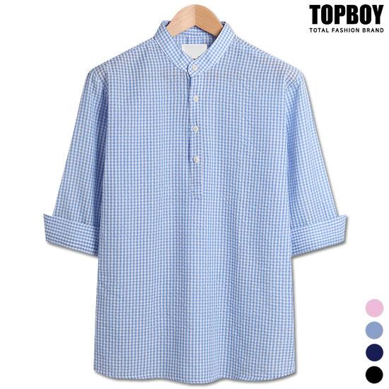 [탑보이] 엠보 헨리넥 7부셔츠 (ZT123)