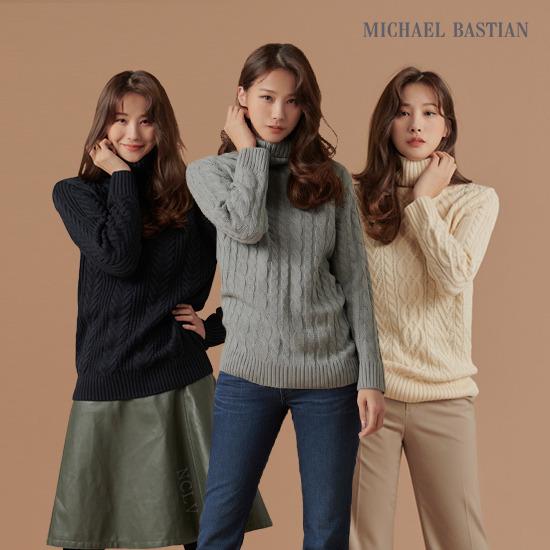 (런칭가 79,900)마이클 바스티안 여성 케이블 니트 스웨터 3종