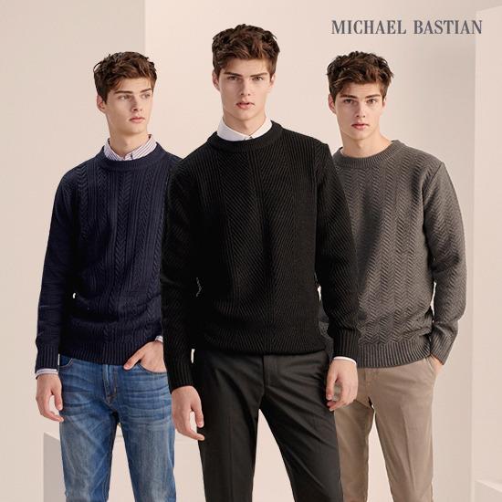 (런칭가 79,900)마이클 바스티안 남성 케이블 니트 스웨터 3종