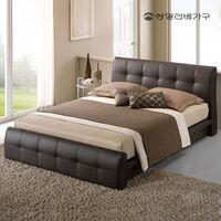 [상일리베가구] 로렌 가죽 평상형 독립스프링 침대 (퀸)