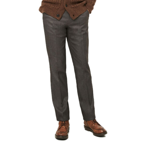 [by_파크랜드]폴리 브라운 마이크로 패턴 스트레치 본딩 노턱 팬츠.NPD17405
