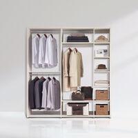 [장인가구]더크림 드레스룸 ㅡ자 2000 정리형 메이플 (800옷장+800정리장+400선반장)